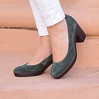 Замшевые зеленые туфли на каблуке L128555