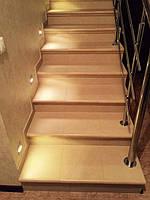 Лестница облицована керамогранитной плиткой Zeus Ceramica Cotto Classico Rosa ZAX27 и капиносами для ступеней - цвет № 11