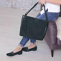 Зеленые замшевые туфли с кожаной вставкой L128435
