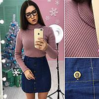 Модная женская юбка (джинс, на пуговицах, длина мини) РАЗНЫЕ ЦВЕТА!