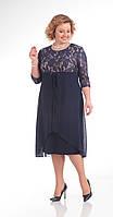 Платье Pretty-645/1 белорусский трикотаж, темно-синий, 56