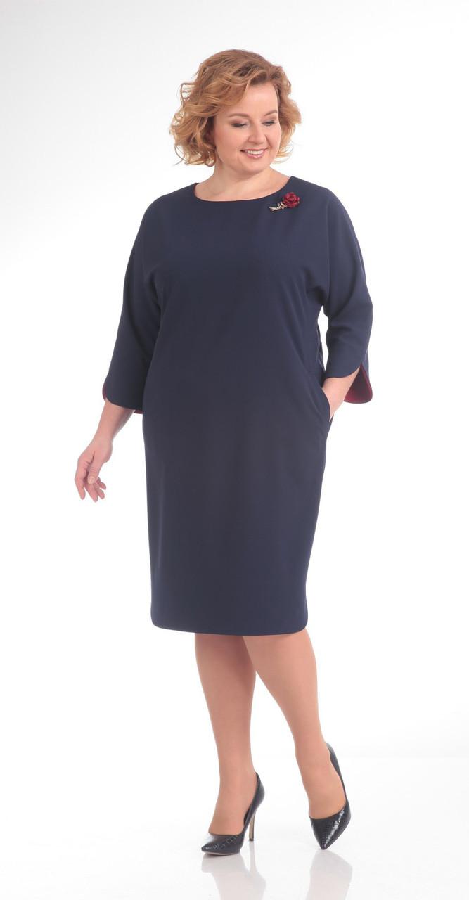 Платье Pretty-647 белорусский трикотаж, темно-синий с розочкой, 56