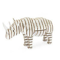 3D пазл из гофрокартона Kawada D-torso Носорог белый 4580238617141
