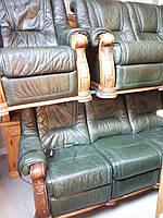 ГРИЗЛИ комплект кожаной мягкой мебели 3+2+1(Реклайнер с электроприводом)