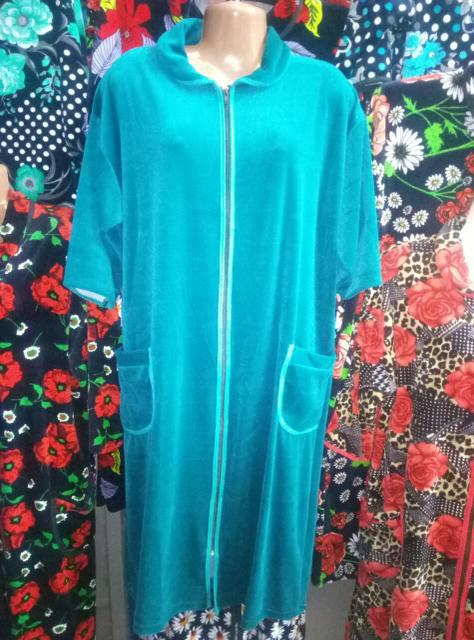 Женский халат с коротким рукавом велюр