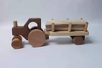 Деревянная машинка - Трактор с бричкой КИНД