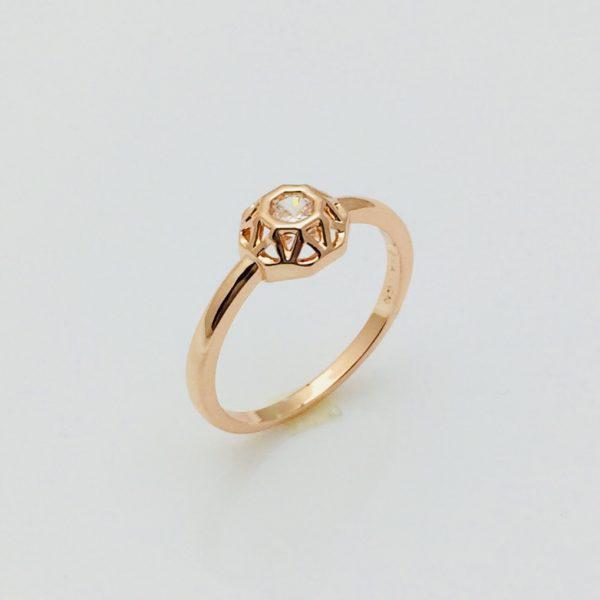 Кольцо Коробочка, размер 17, 18, 19, 20 позолота 18К Fallon