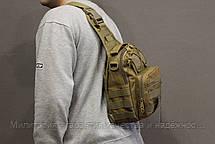 Рюкзак однолямочный на 8 л. сумка слинг военный рюкзак Coyote (098-coyote), фото 2