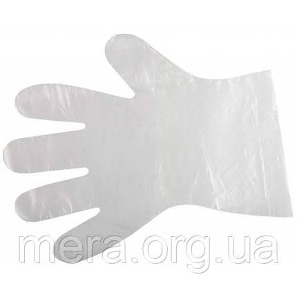 Рукавички одноразові поліетиленові прозорі, 7мкм, 100шт., фото 2