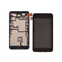 Дисплей для Nokia 530 Lumia (RM-1017/RM-1019) с сенсором, черный, с передней панелью, оригинал (Китай)