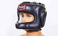 Шлем боксерский с бампером кожаный TWINS HGL-9-BK-L