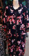 Велюровый женский халат с замком 48-56рр, фото 1
