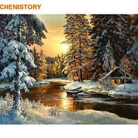 Живопись  Закат в лесу  40*50  рисование по номерам природа, река, зимний лес