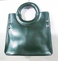 Кожаная женская сумка цвет зеленый