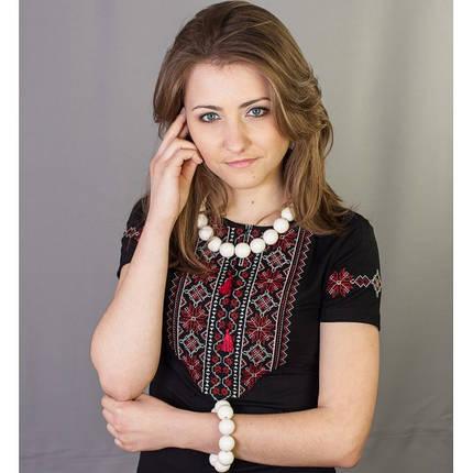 Женская футболка вышиванка кружево с вышитым рукавом в 4 цветах до 56 размера, фото 2