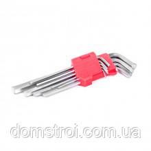 Набір Г-образних шестигранних подовжених ключів 9 од., 1,5-10 мм, Cr-V, 55 HRC INTERTOOL HT-0602