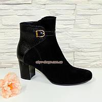 Кожаные женские ботинки на невысоком каблуке. Натуральный замш и кожа питон