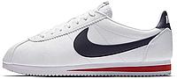 Мужские кроссовки Nike Classic Cortez Leather White/Navy (Найк Кортес) белые