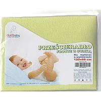 Простынь детская махровая в кроватку на резинке Duetbaby 120 х 60 см (цвета в ассортименте)