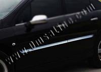 Молдинг на двери автомобиля Пежо 407 2005+ гг. (4 шт, нерж)