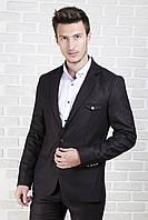 Пиджак мужской коричневый с клапаном на груди, фото 1