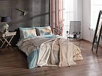 Двуспальное постельное белье TAC Laurel turkuaz + плед
