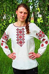 Жіноча вишиванка на білому льоні Наталка пара до чоловічої сорочки Матвій