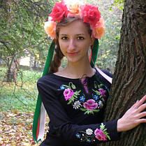 Женская вышиванка букет с вышитым длинным рукавом до 56 размера, фото 3