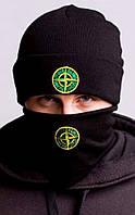 Комплект черный мужской осенний зимний шапка бафф Stone Island Стон Айленд