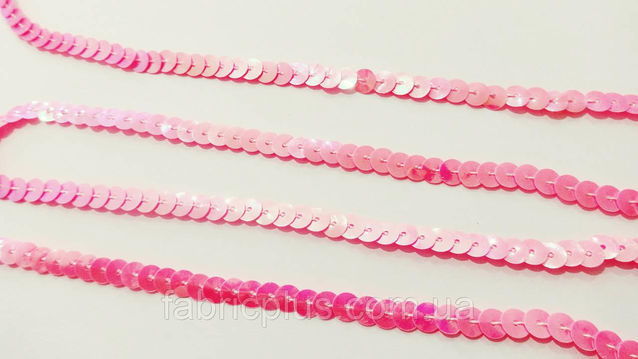 Тесьма  пайетки (6 мм) ярко розовая