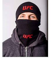 Комплект мужской зимний шапка и бафф UFC
