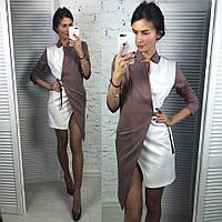 Платье модное на запах асимметричного кроя трикотаж джерси разные цвета SMLd2116