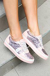 Женские кеды на шнурках розового цвета 39