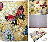 """Обложка на паспорт ручной работы """"Бабочки и марки"""""""
