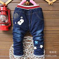 Теплые (синтепон)  джинсы на мальчика с зайкой Одесса