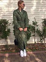 Женский стеганный пуховик - одеяло Королева зеленое