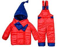 Детский зимний комбинезон Гномик+ шарфик красный, розовый, мятный 3-4 года