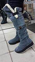 Зимние замшевые сапоги на платформе. Украина