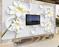 """3D фотообои """"Белые цветы с белыми кругами"""""""