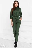 Женский замшевый комбинезон. Цвет темно-зеленый.