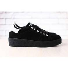 Женские кеды, черные, замшевые, на шнурках, код: 2600 39