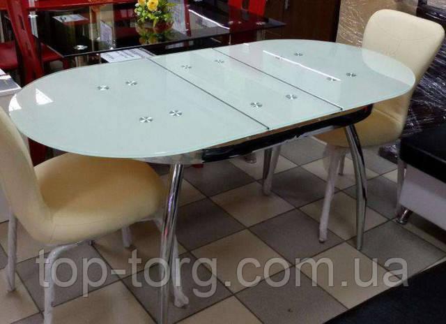 Белый овальный стеклянный стол ТВ-042