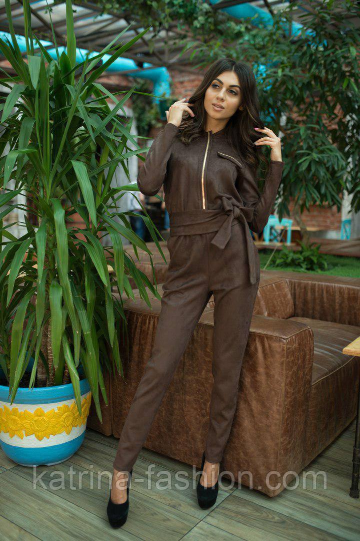 Женский замшевый комбинезон брюки (3 цвета)