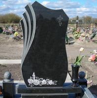Памятник 100*50*8 см прямоугольный гранитный черный цветной одинарный резной
