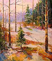«В зимнем лесу» картина маслом