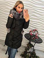 Женская Зимняя куртка-пальто на синтепоне (темно синий и черный)