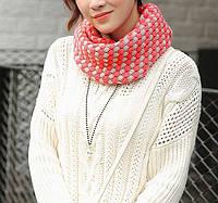 Стильный теплый вязанный женский шарф-хомут снуд с двойным типом вьязки коралового с серым цвета