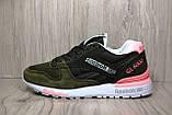 Женские стильные кроссовки натуральный замш и текстиль хаки Reebok Classic Gl 6000, фото 4