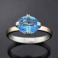 Серебряное кольцо с золотой пластиной, размер 18, голубой фианит, серебро 1.5 г, золото 0.1 г
