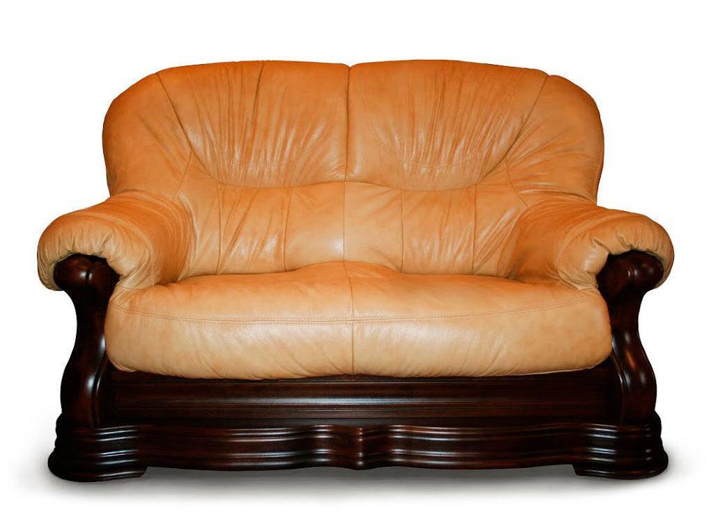 """Новый двухместный диван в коже """"Senator"""" бежевый (175см)"""